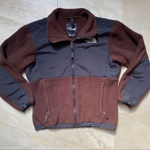 The North Face brown & black zip up fleece jacket